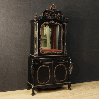 Dutch Sideboard In Oak And Ebonized Wood With Mirrors From 20th Century