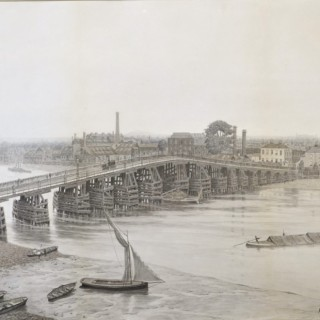 Old Battersea Bridge seen from Lindsey House