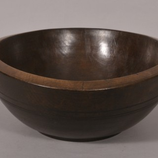 Antique Treen Deep Sycamore Bowl of the Georgian Period