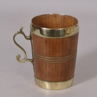 Antique Treen 19th Century Cedar Wood Tankard