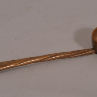 Antique Treen 19th Century Fruitwood Toddy Ladle