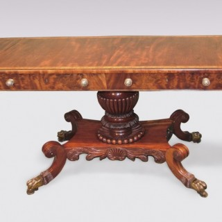 Regency period mahogany Sofa Table on pedestal base.