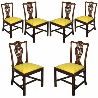 Fine set of Six George III Mahogany Chippendale Dining Chairs