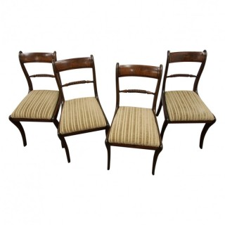 Rare Regency Set of 4 Brass Inlaid Regency Mahogany Chairs
