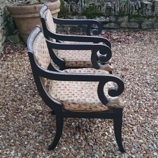 Pair of Regency Ebonised And Gilt Antique Klismos Dining Chairs