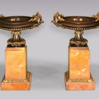 A pair of Antique bronze and ormolu, Sienna marble Tazzas.