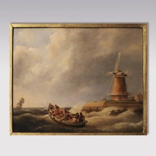 An early 19th century seascape oil on panel, signed J.C. Schotel.
