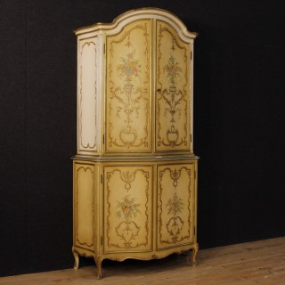 Italian Sideboard In Lacquered And Gilt Wood With 4 Doors 20th Century