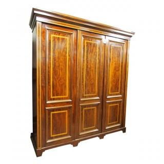 William IV Mahogany and Inlaid Three Door Wardrobe