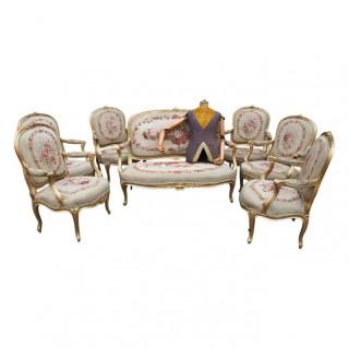 Louis XV Style 7 Piece Parlour Suite