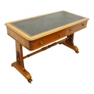 Rare Pine and Green Leather Library Table