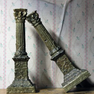 A Good Pair of Large 19thC Ormolu Candlesticks Modelled as Corinthian Capital Ruins c.1890