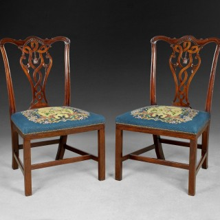 Pair of Chippendale period carved Mahogany side chairs