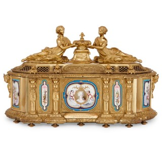 French gilt bronze casket with Sevres style porcelain plaques