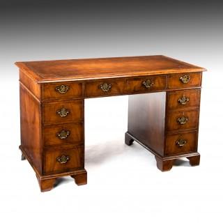 Good 19th Century Walnut Pedestal Writing Desk