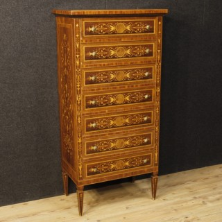 Italian Inlaid Tallboy In Louis XVI Style With 7 Drawers From 20th Century