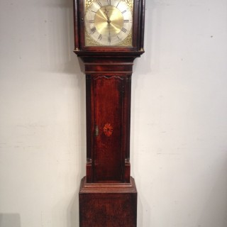 Geo III oak longcase clock by Edmunds of Madeley.