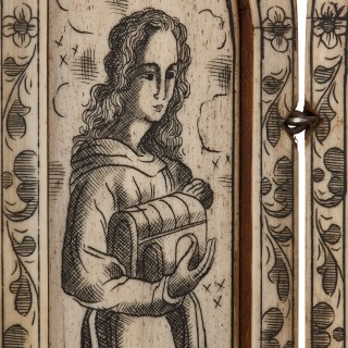 Devotional bone triptych engraved with depictions of the Madonna
