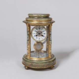 A French Onyx and Enamel Mantel Clock