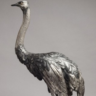 JAPANESE PATINATED BRONZE OSTRICH