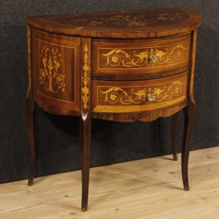 Italian Demilune Dresser In Inlaid Wood In Louis XVI Style From 20th Century