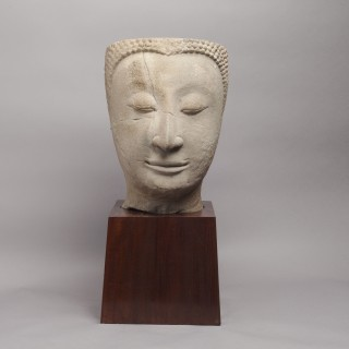 SANDSTONE HEAD OF BUDDHA FROM THAILAND