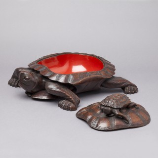 JAPANESE CARVED  WOOD TURTLE BOX