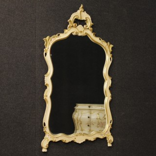 Venetian Mirror In Lacquered, Gilt, Painted Wood And Plaster With Floral Decorations 20th Century