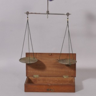 Antique Treen Victorian Travelling Apothecary's Scales