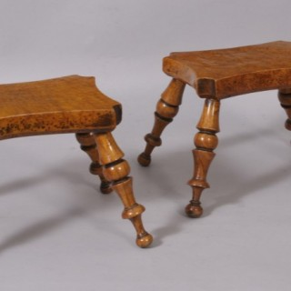 Antique Treen Pair of 19th Century Burr Ash Dresser Stools