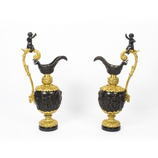 Antique Large 76cm Pair of French Gilt Bronze Ewers c.1840