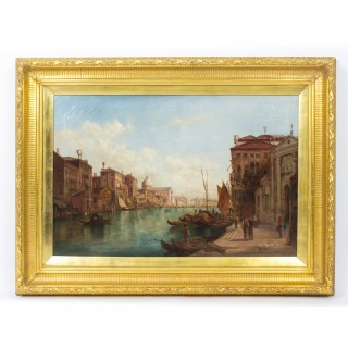 Antique Oil Painting Grand Canal Venice Alfred Pollentine 19th C