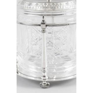 Antique Victorian Silver Plate & Cut Glass Biscuit Barrel 19th C