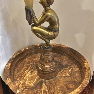 A French art Deco bronze and onyx lamp by Duvernet