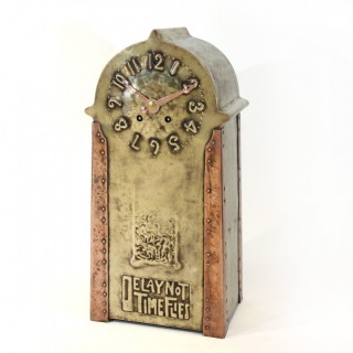 Hammered brass and copper Arts and Crafts clock