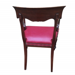 Antique William 1V Mahogany Desk Chair or Open Armchair