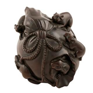 Japanese Carved Ebony Okimono