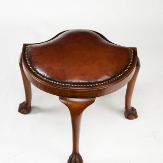 Unusual Antique Walnut Shaped Leather Dressing Stool