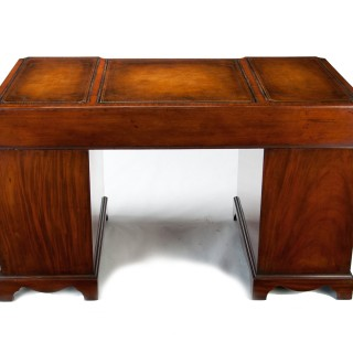 Antique Mahogany Shaped Front Pedestal Writing Desk