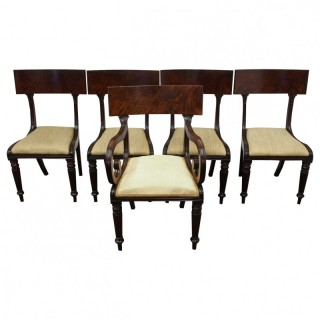 Set of 5 George IV Mahogany Dining Chairs