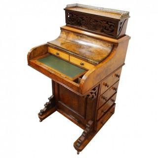 Mid Victorian Burr Walnut Piano Top Davenport Desk