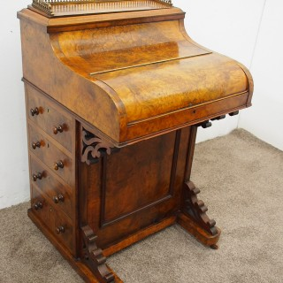 Mid Victorian Burr Walnut Piano Top Davenport Desk