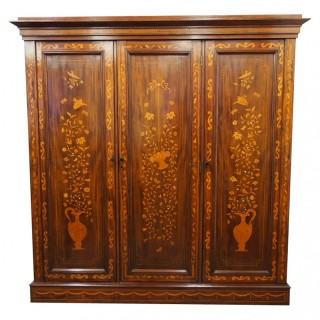 Marquetry Inlaid 3 Door Mahogany Wardrobe