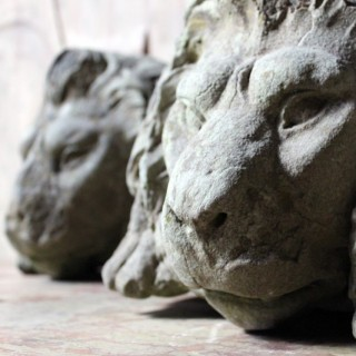 A Pair of 19thC Carved Stone Gate Pier Fragmentary Lion Head Carvings c.1860