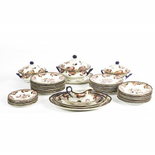 Cambridge Pattern 57 Piece Part Dinner Service by Wood & Son 19th C