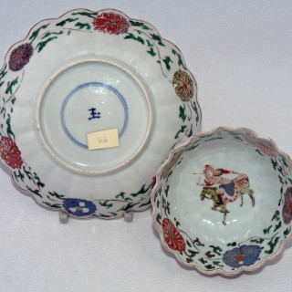 Kangxi Famille Verte Shaped Tea Bowl and Saucer