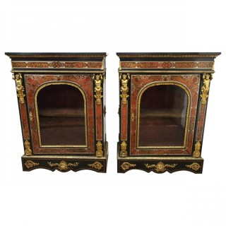 Rare Pair of Napoleon III Style Boulle Cabinets