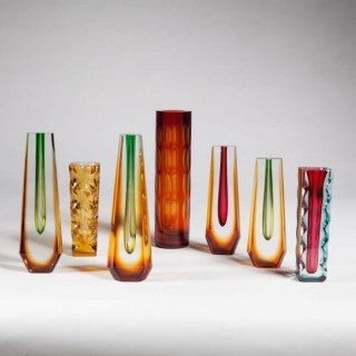 SEVEN MID CENTURY BOHEMIAN COLOURED GLASS VASES