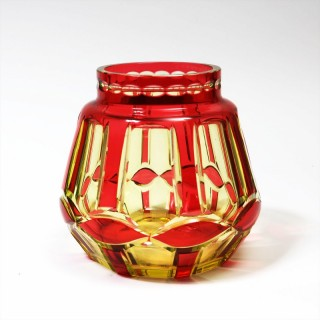 VAL ST LAMBERT CASED RUBY OVER URANIUM GLASS VASE 'PALACIO'