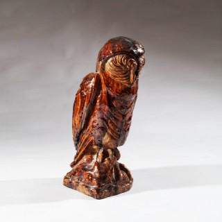 19TH CENTURY FRENCH POTTERY OWL